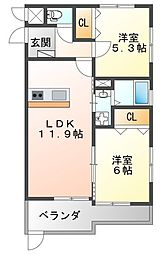 フラワーメゾン東園田 1階2LDKの間取り
