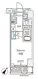 JR総武本線 馬喰町駅 徒歩4分の賃貸マンション 8階1Kの間取り