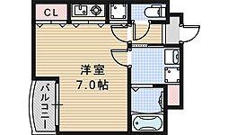 Osaka Metro御堂筋線 あびこ駅 徒歩20分の賃貸マンション 3階ワンルームの間取り