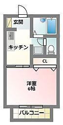 京阪本線 萱島駅 徒歩14分の賃貸マンション 2階1Kの間取り