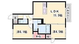 JR赤穂線 播州赤穂駅 徒歩27分の賃貸アパート 1階2LDKの間取り