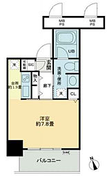 ベルファース大阪新町 6階1Kの間取り