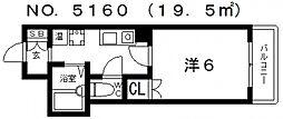 ルームド・ワン[4階]の間取り