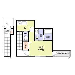 JR中央線 阿佐ヶ谷駅 徒歩6分の賃貸アパート 2階1Kの間取り
