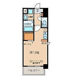 名鉄名古屋本線 山王駅 徒歩10分の賃貸マンション 2階ワンルームの間取り