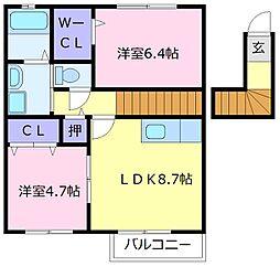 南海高野線 北野田駅 徒歩5分の賃貸アパート 2階2LDKの間取り