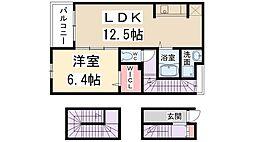 兵庫県伊丹市北園3丁目の賃貸アパートの間取り