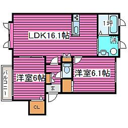北海道札幌市北区百合が原1丁目の賃貸アパートの間取り