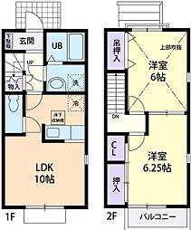 JR高崎線 本庄駅 徒歩29分の賃貸アパート 2階2LDKの間取り