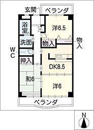 ビレッジ羽博園 3階3DKの間取り