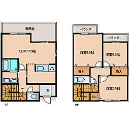 [テラスハウス] 奈良県奈良市学園中2丁目 の賃貸【/】の間取り