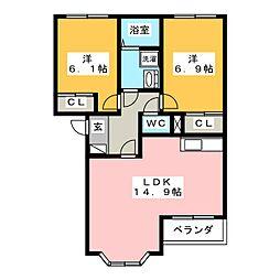 ハーモニー A[1階]の間取り