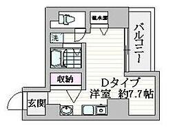 都営浅草線 戸越駅 徒歩1分の賃貸マンション 7階ワンルームの間取り
