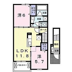 滋賀県大津市仰木の里東8丁目の賃貸アパートの間取り