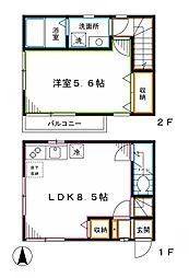 西武新宿線 沼袋駅 徒歩2分の賃貸一戸建て 1LDKの間取り