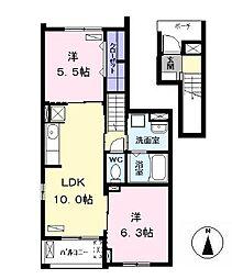 バス 東条下車 徒歩5分の賃貸アパート 2階2LDKの間取り