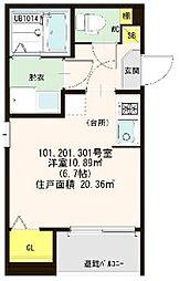 仮称)ハ−モニ−テラス大阪市西淀川区歌島一丁目8A[101号室]の間取り