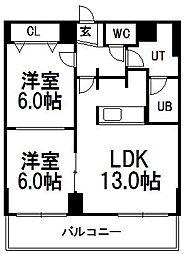 北海道札幌市手稲区稲穂二条8丁目の賃貸マンションの間取り