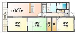 大阪府高槻市古曽部町2丁目の賃貸マンションの間取り