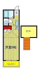 メゾン・デ・シャルム逆井[206号室]の間取り