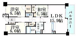 阪神本線 打出駅 徒歩3分の賃貸マンション 3階3LDKの間取り
