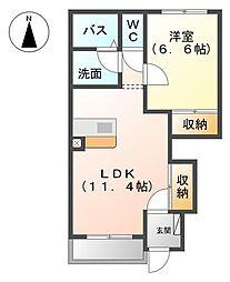 愛知県名古屋市中川区服部3の賃貸アパートの間取り