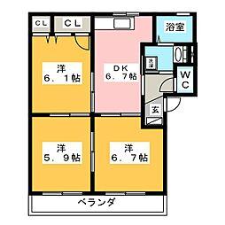 ラカーサフェリス A棟[2階]の間取り