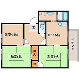 奈良県奈良市古市町の賃貸アパートの間取り