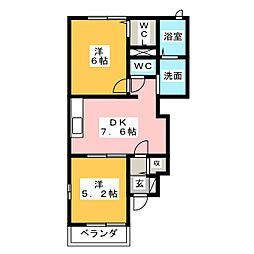 テリオスI 1階2DKの間取り