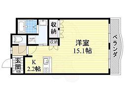 大阪モノレール彩都線 彩都西駅 徒歩16分の賃貸マンション 1階ワンルームの間取り