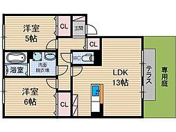 アウローラ B棟[1階]の間取り
