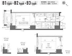 東京メトロ日比谷線 築地駅 徒歩19分の賃貸マンション 4階1Kの間取り