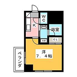 ヴィークブライト名古屋東別院 2階1Kの間取り