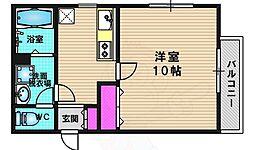 シャルレ13番館 3階1Kの間取り