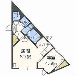 aoakuaN7 1階1LDKの間取り