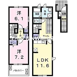 JR宇野線 彦崎駅 徒歩5分の賃貸アパート 2階2LDKの間取り
