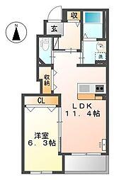 埼玉県久喜市葛梅1の賃貸アパートの間取り