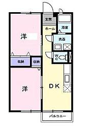 岡山県岡山市北区御津金川の賃貸アパートの間取り
