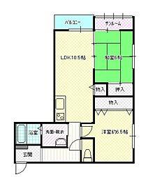 たんぽぽコーポ福岡A棟[2階]の間取り