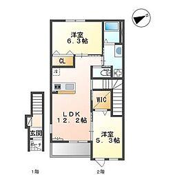 JR加古川線 滝野駅 4.4kmの賃貸アパート 2階2LDKの間取り