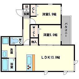 仮称 東淀川小松4丁目ヘーベルメゾン 2階2LDKの間取り