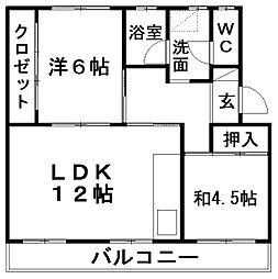 第二パークサイドマンション[207号室]の間取り