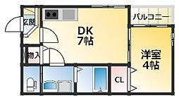 ハーモニーテラス東中島3 2階1DKの間取り
