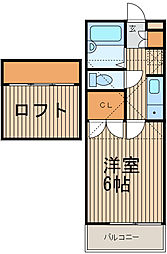 東京都大田区鵜の木1丁目の賃貸アパートの間取り