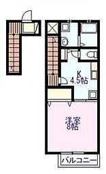 広島県広島市中区江波西2丁目の賃貸アパートの間取り