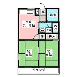 ファミールハイツA[2階]の間取り