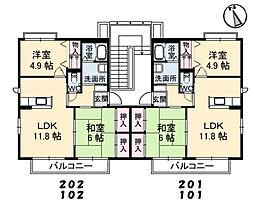 アルメリア鳴川A棟[2階]の間取り