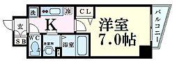 Osaka Metro谷町線 中崎町駅 徒歩7分の賃貸マンション 13階1Kの間取り