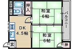 南桜塚スマイルハイツ[3階]の間取り