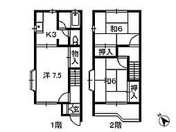 千葉県千葉市若葉区桜木の賃貸アパートの間取り